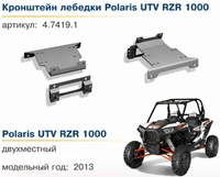 Комплект крепления лебедки Rival для Polaris RZR 1000 (2 части) 444.7419.2