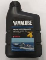 Mасло моторное минеральное для 4-тактных двигателей подвесных лодочных моторов (ПЛМ) Yamalube 4, (1Литр) SAE 10W-40 907-90BS4-51-00 90790BS45100